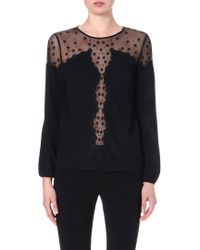 Temperley London Embroidered Sheerpanel Top Black - Lyst