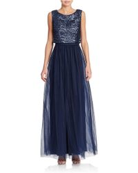 Vera Wang Sequin And Tulle Gown - Lyst