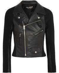 Junya Watanabe Faux Leather and Woolblend Felt Biker Jacket - Lyst