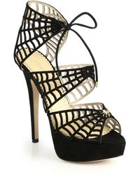 Charlotte Olympia Suede Spider Web Sandals black - Lyst