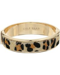 Cole Haan - Wide Hinged Leather Inlay Bangle - Lyst