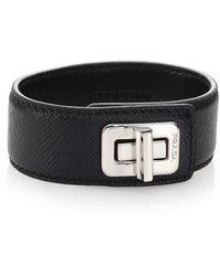 Prada Saffiano Leather Turnlock Cuff Bracelet Lyst