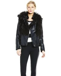 Vince Camuto Faux Leather Coat With Faux Fur - Lyst