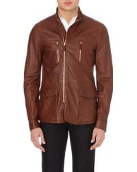 Armani Fully Lined Leather Jacket - Lyst