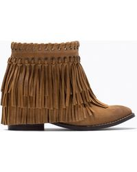 Zara Suede Fringed Ankle Boots - Lyst