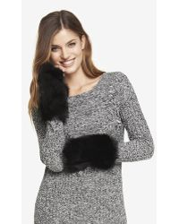 Express Faux Black Fox Fur Fingerless Mittens - Lyst
