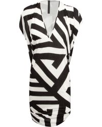 Gareth Pugh Sleeveless Geometric Print Dress  - Lyst