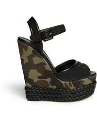 Giuseppe Zanotti Camouflage Canvas Wedge Sandals - Lyst