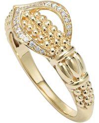 Lagos Caviar 18K Gold & Diamond Ring - Lyst