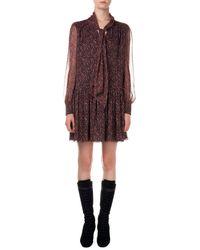 Saint Laurent Paisley-print Dress W Dropped Waist - Lyst