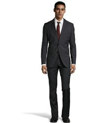 Hugo Boss Dark Grey Wool Two Button Suit with Flat Front Pants - Lyst