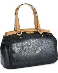 Calvin Klein Embossed Satchel Bag - Lyst