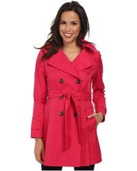 DKNY Double-Breasted Skirted Trench Coat - Lyst
