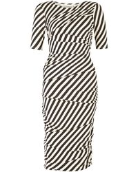 Ganni Striped Jersey Bandage Dress - Lyst