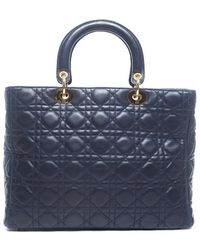 Dior Preowned Navy Lambskin Large Lady Dior Bag - Lyst