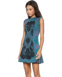 M Missoni Space Dye Dress with Lace Overlay Teal - Lyst