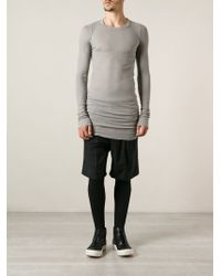 Rick Owens Long Fitted Tshirt - Lyst