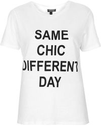 Topshop Same Chic Different Day Tee  White - Lyst