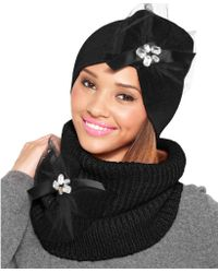 Betsey Johnson Woven Ribbed Bow Snood - Lyst