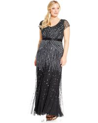 Adrianna Papell Plus Size Cap-Sleeve Beaded Sequined Gown - Lyst
