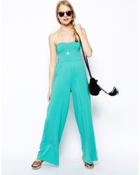 Asos Bandeau Jumpsuit with Wide Leg - Lyst