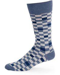 BOSS - Checked Cotton Socks - Lyst