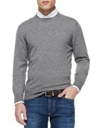 Brunello Cucinelli Cashmere Crewneck Pullover Sweater - Lyst