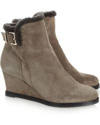 Fendi - Shearlinglined Suede Wedge Boots - Lyst