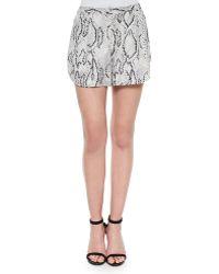 Haute Hippie Flowy Snake-Print Shorts - Lyst