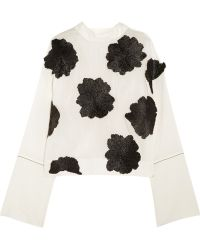 Marni Raffia Appliquéd Cotton And Silk-Blend Top - Lyst