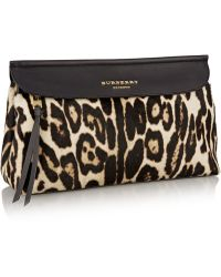 Burberry Prorsum - Leopard-print Calf Hair And Leather Clutch - Lyst