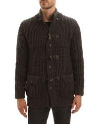 Menlook Label Thick Knit Aaron Asphalt Grey Coat - Lyst