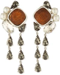Lela Rose - Cluster Crystal Clip-On Earrings - Lyst