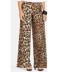 Lauren by Ralph Lauren Leopard Print Wide Leg Pants - Lyst