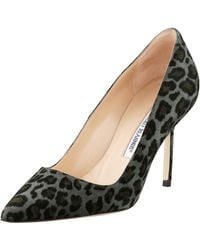 Manolo Blahnik Bb Suede 90mm Pump Gray Leopard Made To Order - Lyst