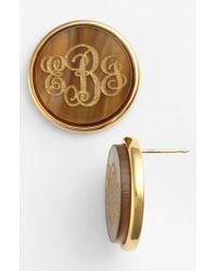 Moon & Lola 'Vineyard' Personalized Monogram Stud Earrings - Tigers Eye - Lyst