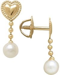 Lord & Taylor - 3mm White Freshwater Pearl And 14k Yellow Gold Drop Earrings - Lyst