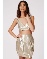 Missguided Metallic Tulip Mini Skirt Gold - Lyst