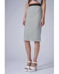 Topshop Monochrome Gingham Tube Skirt - Lyst