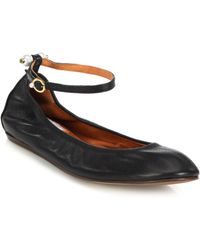 Lanvin Pearl-Studded Leather Ankle-Strap Flats black - Lyst