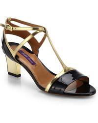 Ralph Lauren Collection Nicki Metallic Leather & Patent Leather Sandals - Lyst