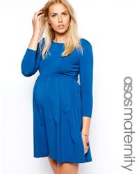 Asos Maternity Skater Dress With Slash Neck And 3/4 Sleeves - Lyst