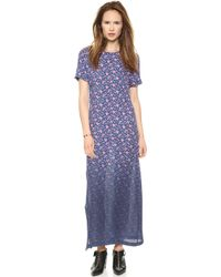 Band Of Outsiders Dip Dye Mini Rose Silk Maxi Dress  - Lyst