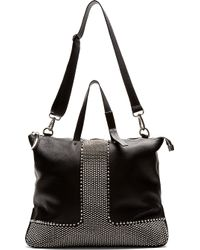 Giuseppe Zanotti Black Grained Leather Studded Tote Bag - Lyst