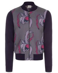 Paul Smith Grey And Navy Banana Jacquard Cotton-Blend Bomber Jacket multicolor - Lyst