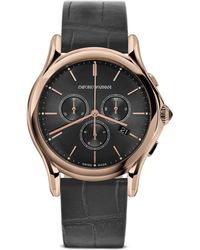 Emporio Armani - Rose Gold Ion Plated Stainless Steel Watch, 42mm - Lyst