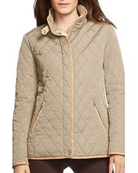Lauren by Ralph Lauren - Quilted Faux-Leather-Trimmed Jacket - Lyst
