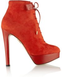 Charlotte Olympia Leticia Suede Ankle Boots - Lyst