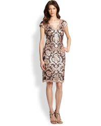 Tadashi Shoji Sequined Lace Dress - Lyst