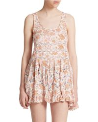 Free People Printed Trapeze Slip Dress - Lyst